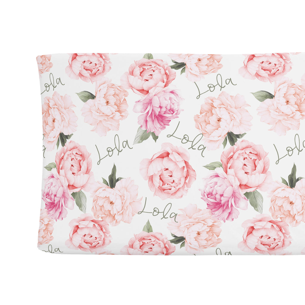 Sugar + Maple Changing Pad Cover - Peach Peony Blooms
