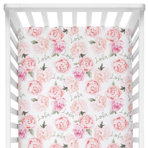 Sugar + Maple Crib Sheet - Peach Peony Blooms