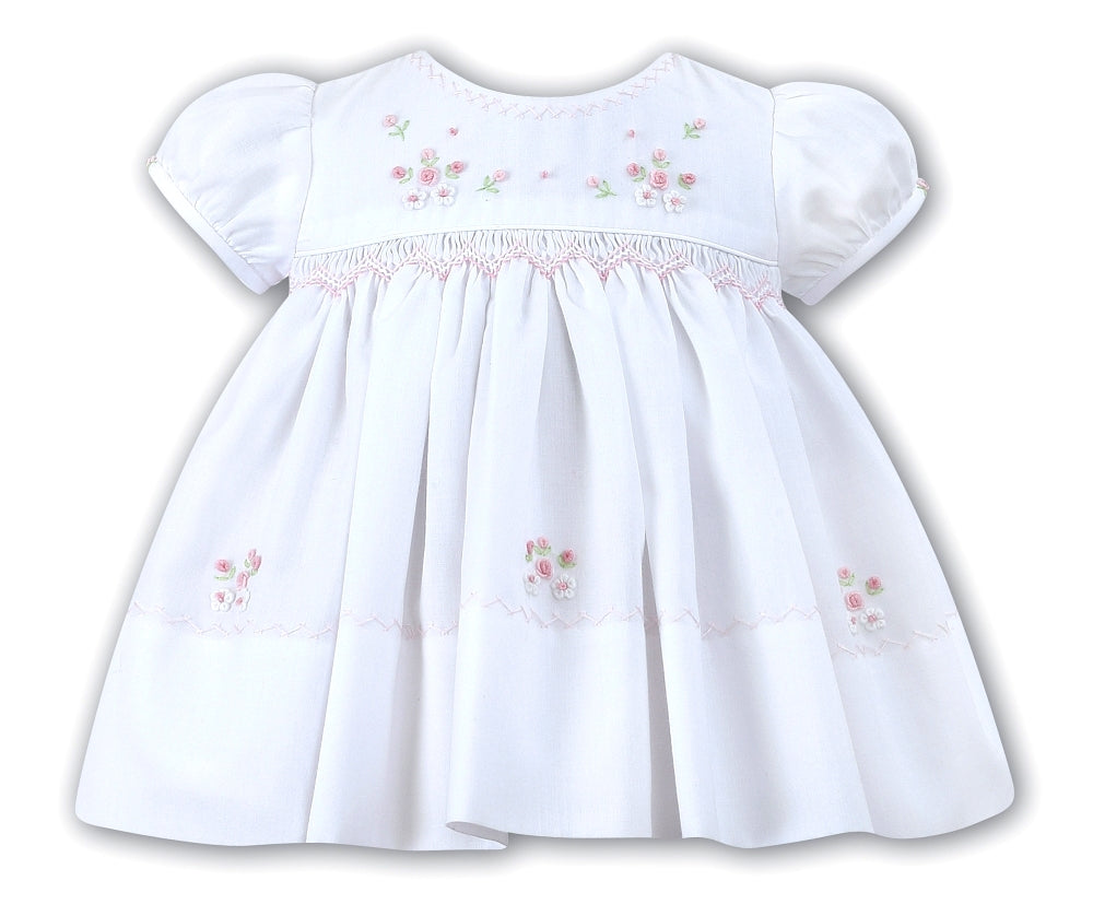 Baby Girls Hand Smocked Pink Dress with Pink Flowers