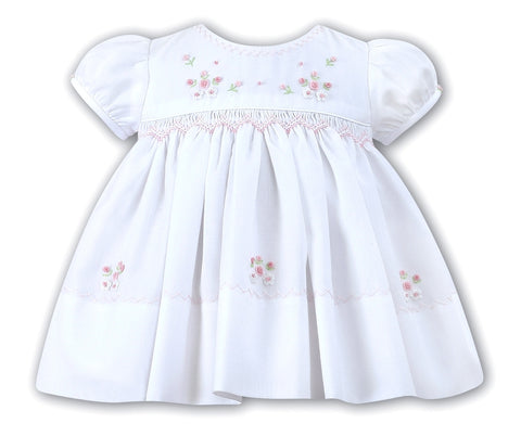Baby Girls Hand Smocked White Dress with Pink Flowers