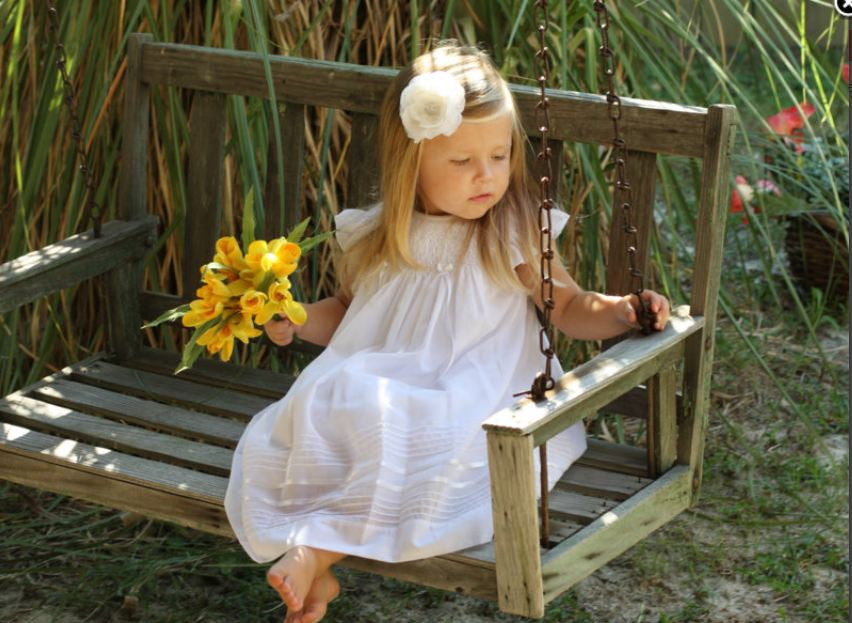 White Smocked Angel Sleeve Dress