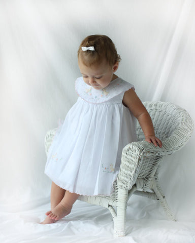 Baby Girl Easter Dress Voile Sleeveless with Embroidered Ducks