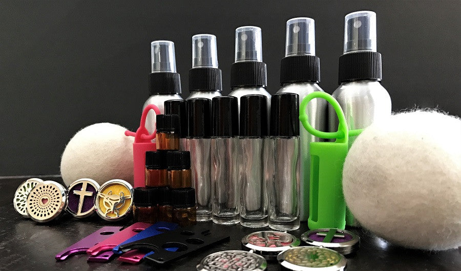Essential Oil products including roller balls, silicone covers, jewelry, car vents, aluminum spray bottles, EO tools