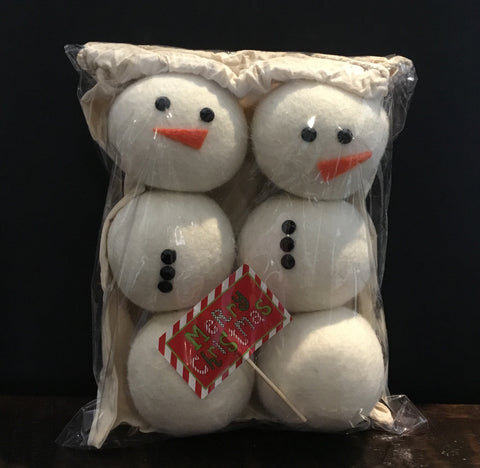 Snowmen themed Dryer Balls - set of 6
