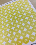 "Labels - Single Oil Sheets, 80 Labels/Sheet, .5"" circle, permanent"