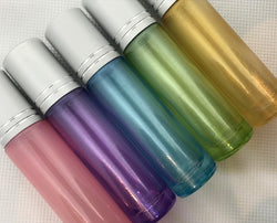 Shimmer Roller Bottles, 10ml, Glass - Set of 5
