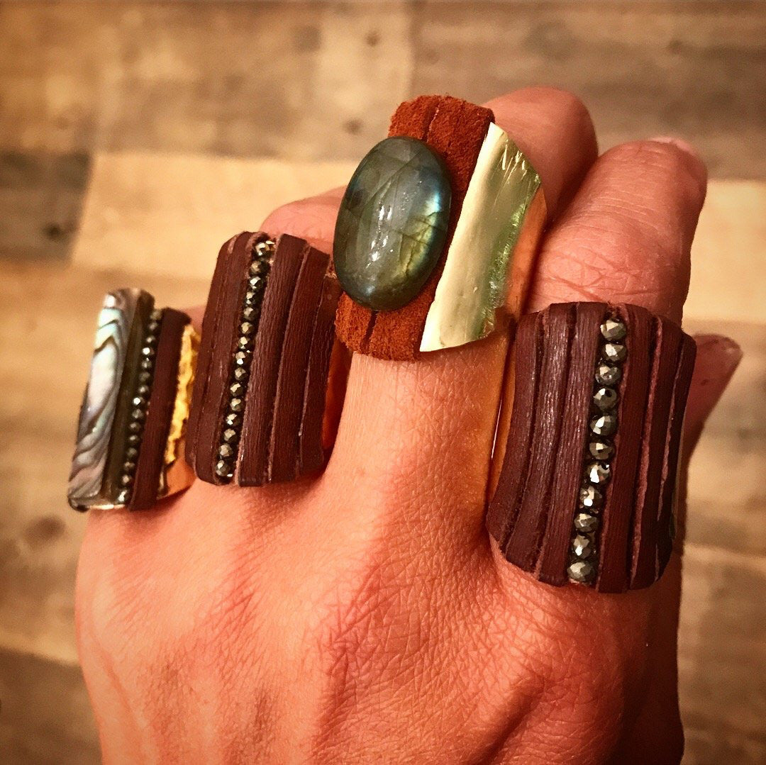 Lab n' Leather Cuff Ring