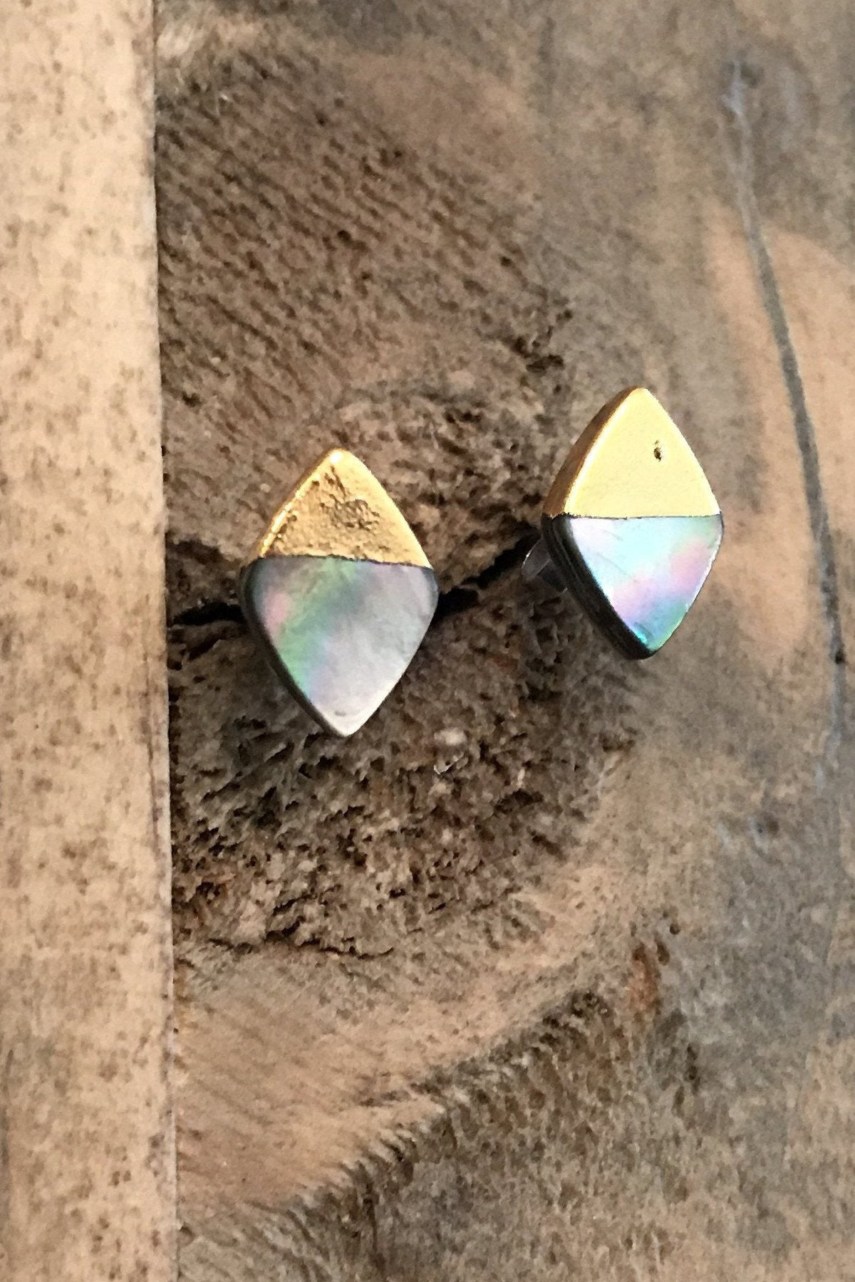 Abalone n' Gold Dipped Studs