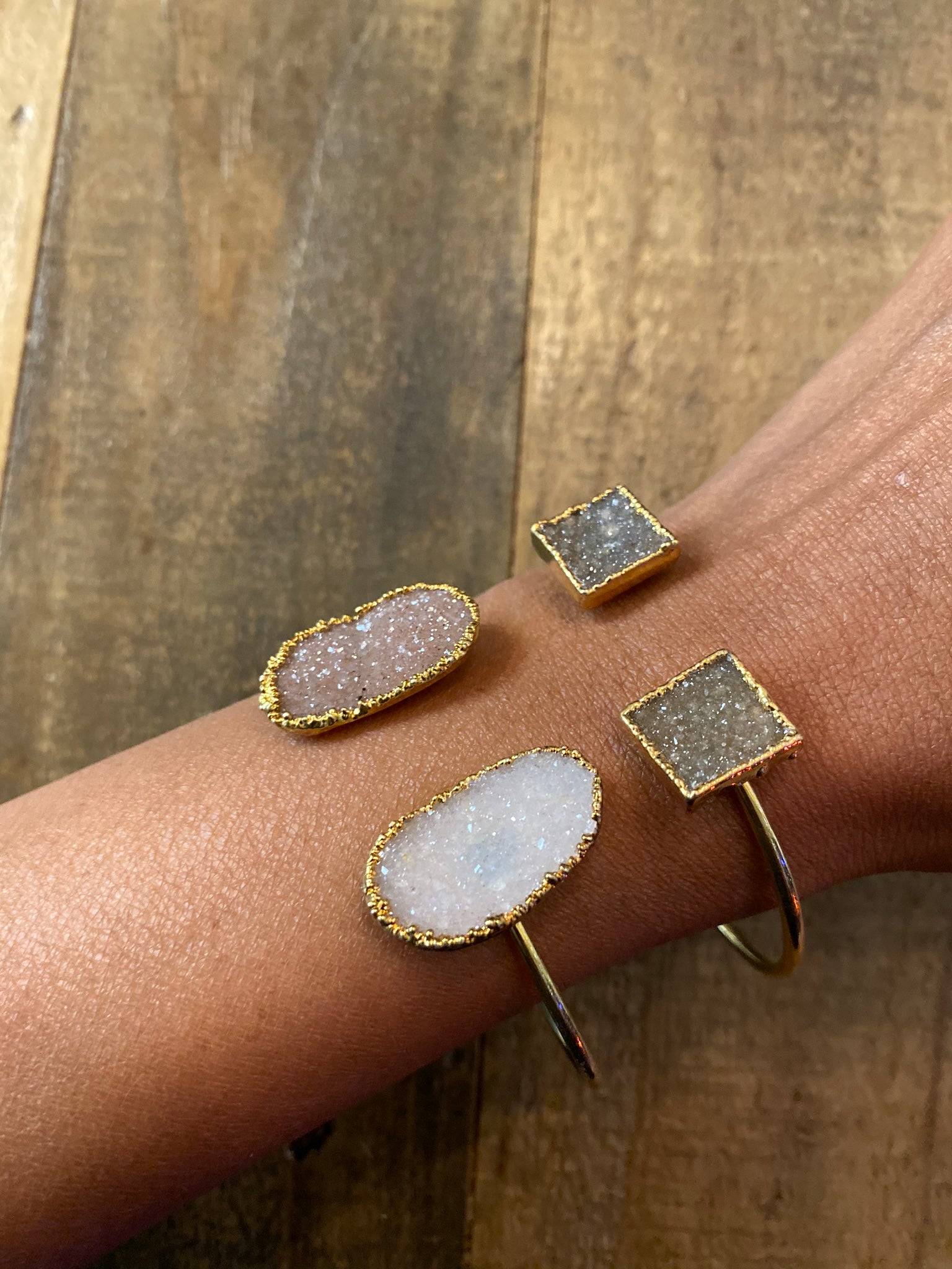 Double Druzy N' Leather Wrap Bangle