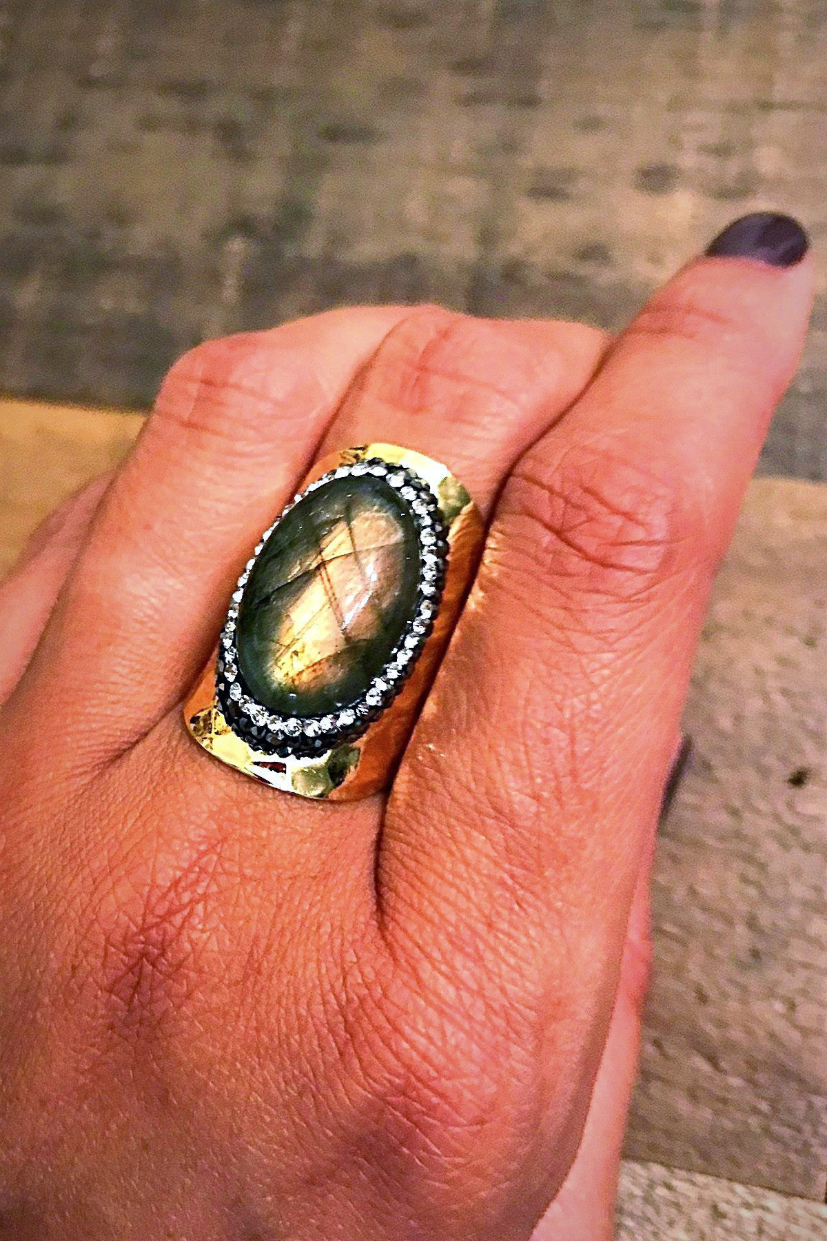 Embellished Labradorite Ring