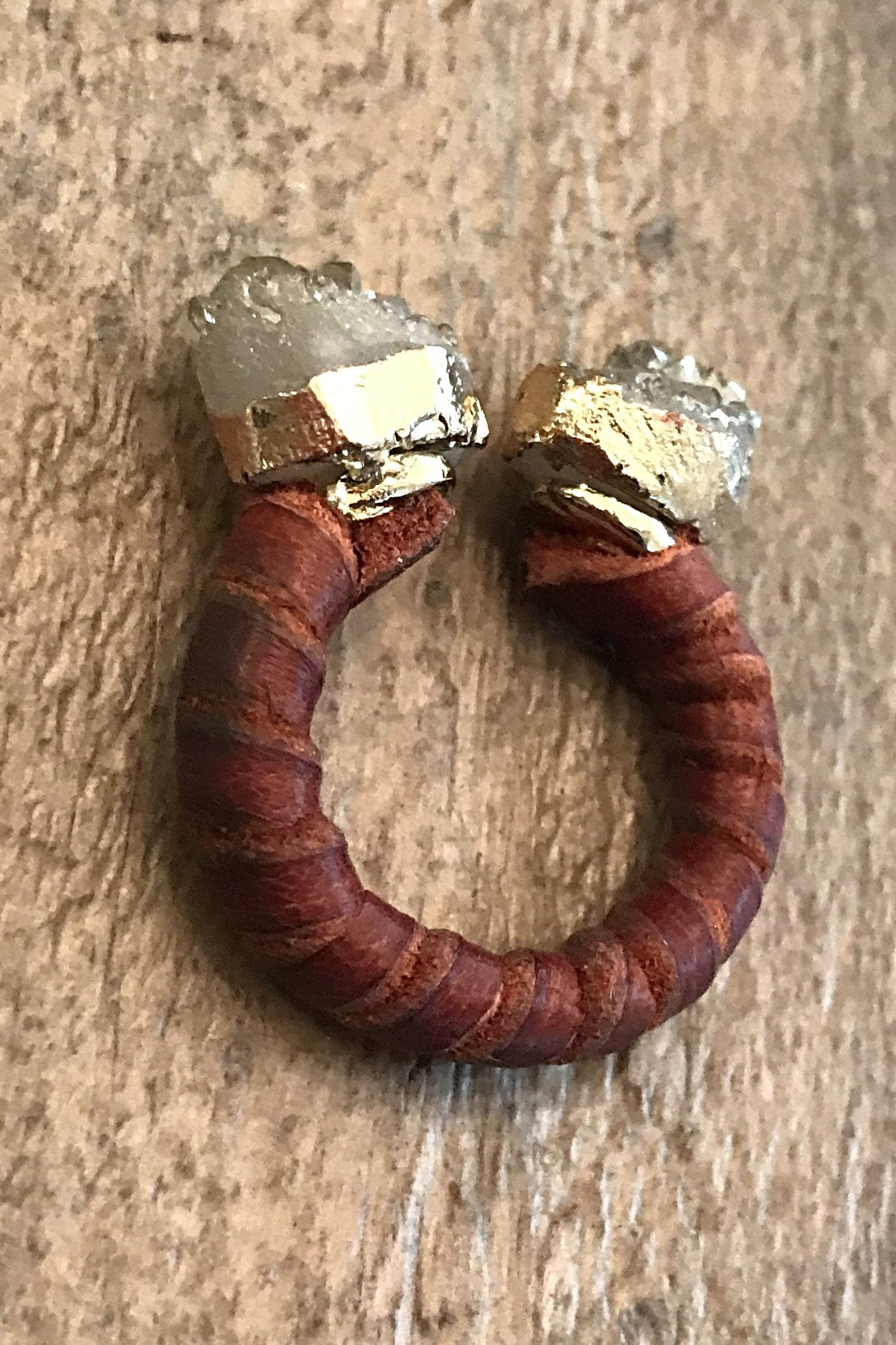 Leather Wrapped Double Druzy Band