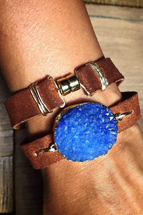 Druzy N' Leather Wrap Bracelet/Choker