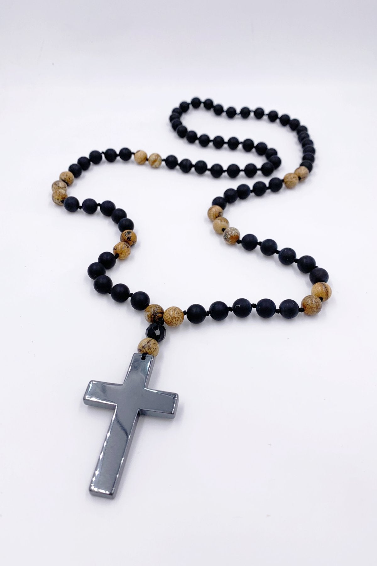 Lava & Hematite Cross