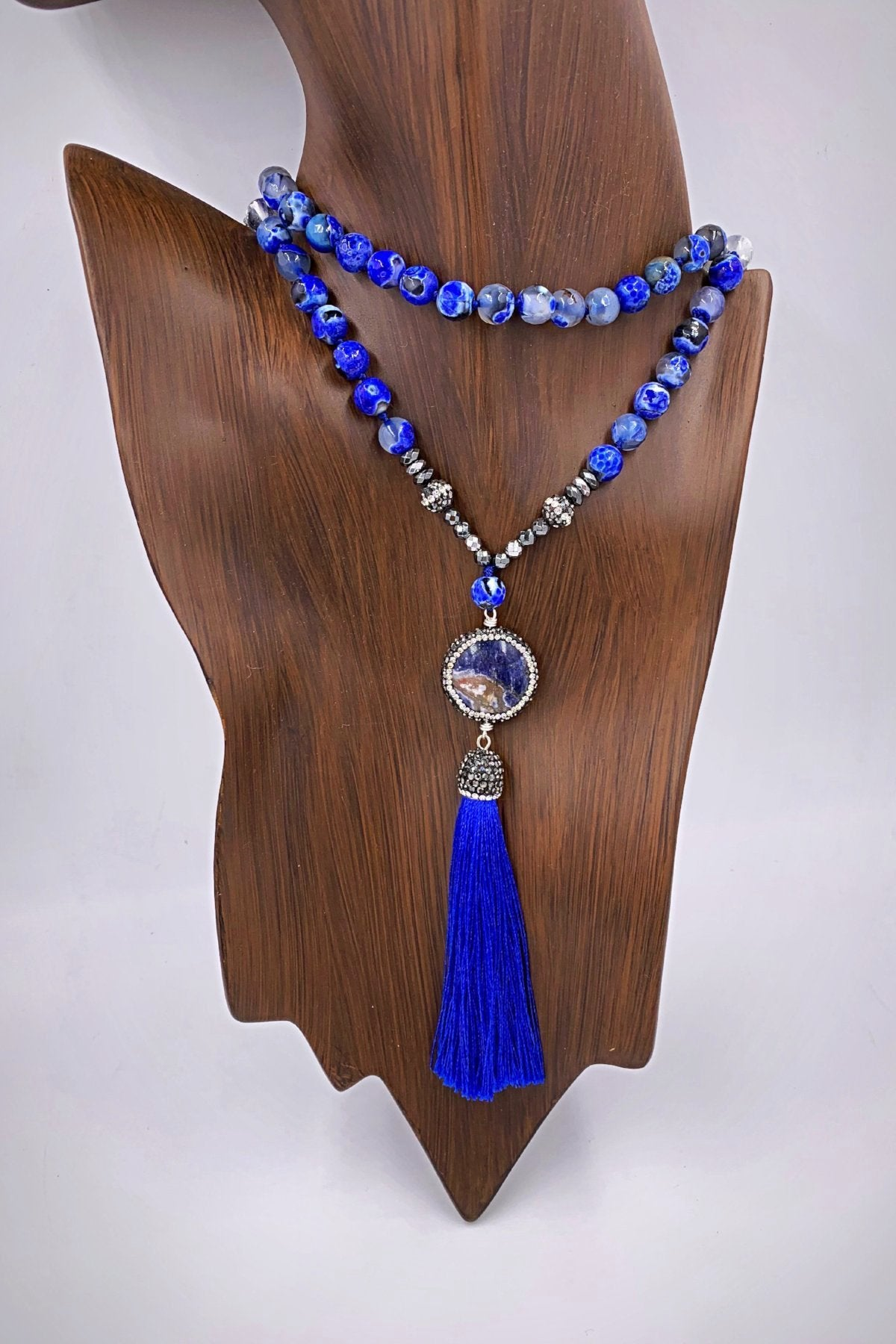 Blue Swoon Tassel Necklace