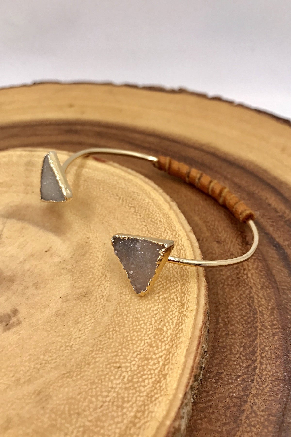 Double Delta Druzy Wrap Bangle