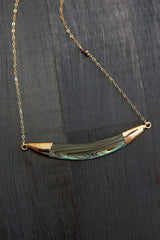 Abalone Dainty Bar Necklace