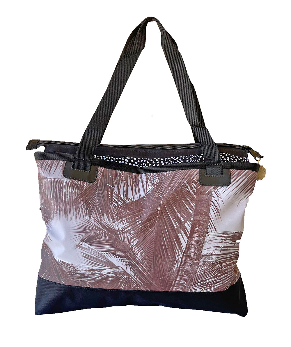 Canvas Beach Bag- Sky Palm-Sepia