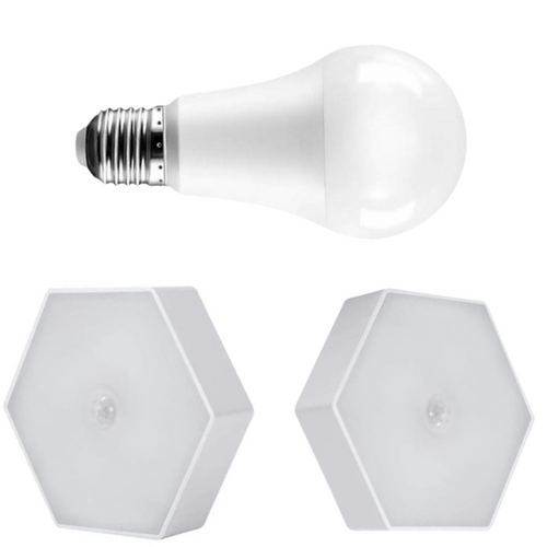 2 Motion Lights and Night Switch Bulb