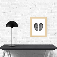 "Heart Pine Print, Heart shaped 11""x14"" unframed"