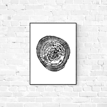 tree ring print, pecky sinker cypress, 18x24, black and white screen print