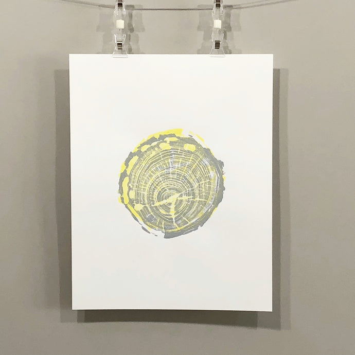 tree ring print, yellow and grey, hand pressed