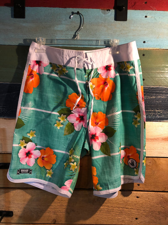 Teal Hibiscus Board Shorts