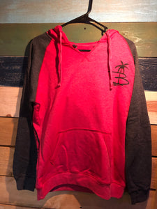 Womens Red/Grey Raglan Hoodie