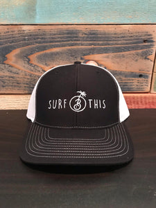"Trucker hat ""Surf This"" White and Black"