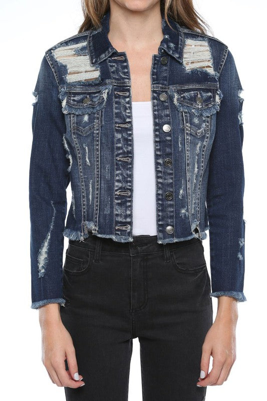 Mid Length Denim Distress Jacket