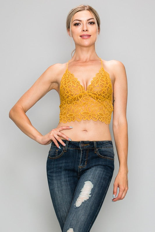 Flower Lace Racer Back Bralette
