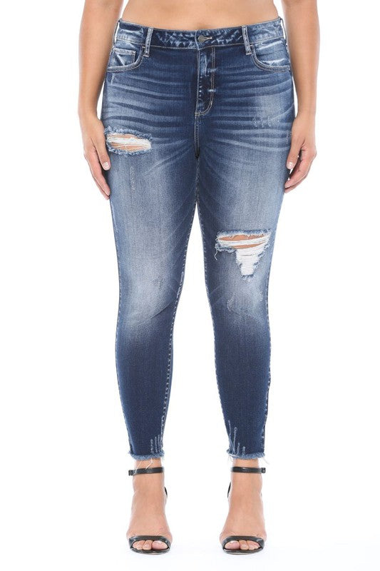 High Rise Distressed Crop Skinny