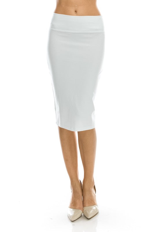Basic Ponte Pencil Skirt with Slit Front Slit