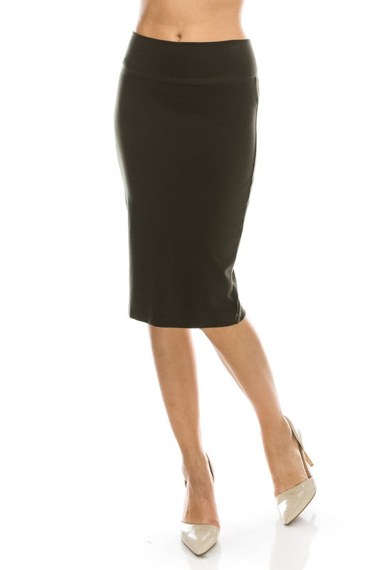 Basic Ponte Pencil Skirt with Slit Front Black