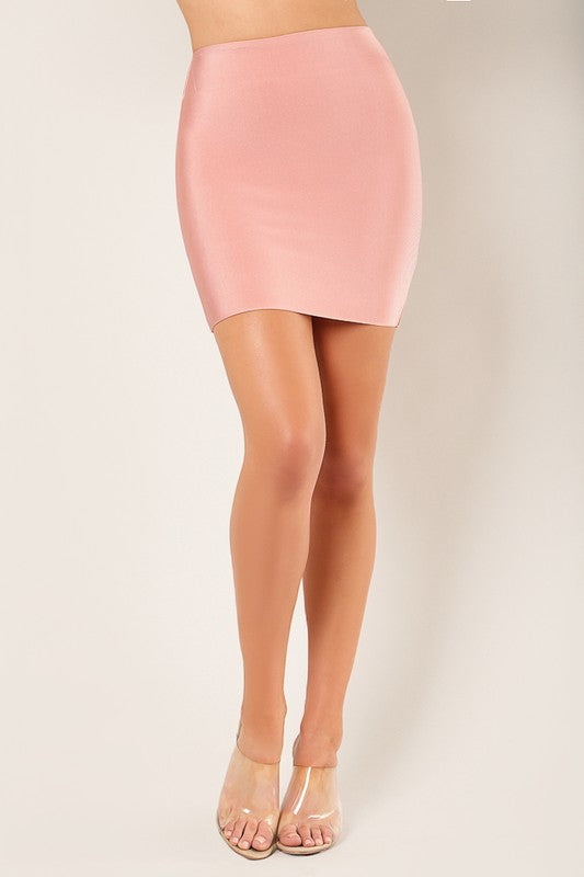 Luxe Mini Bandage Skirt Front Light Pink
