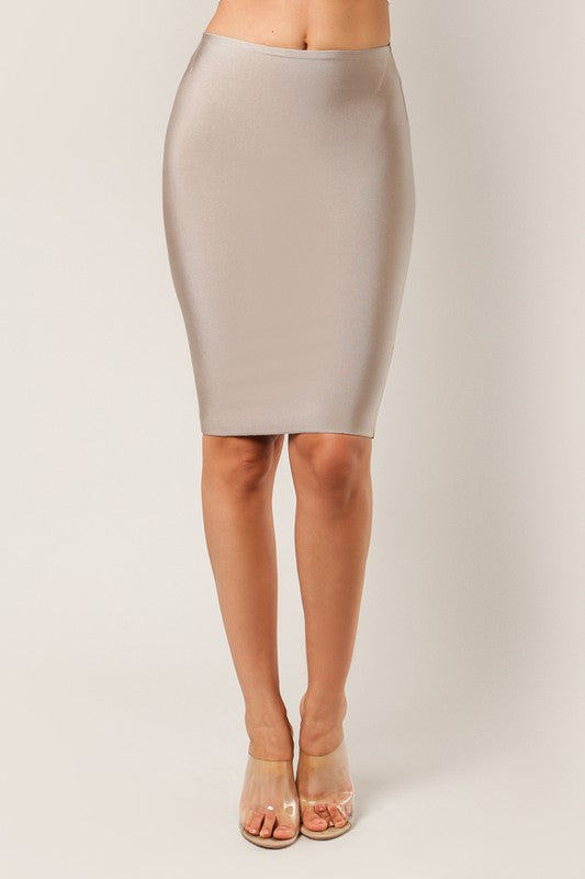Luxe Pencil Bandage Skirt Front Tan