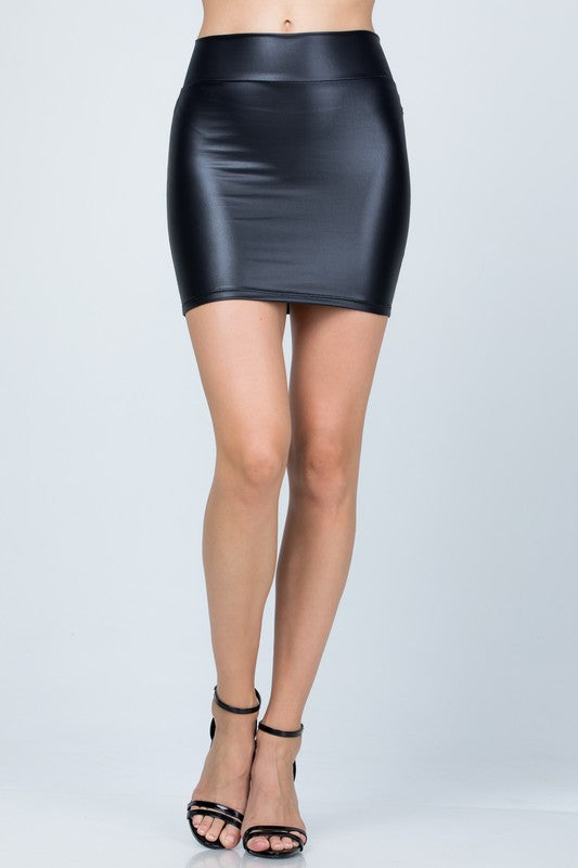 Basic Pleather Mini Skirt