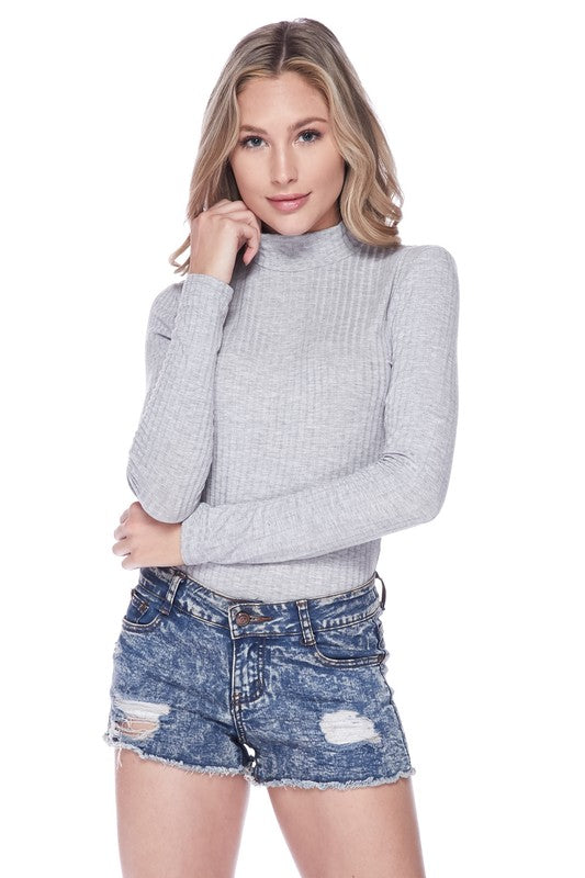 Fitted Turtle Neck Long Sleeve Bodysuit