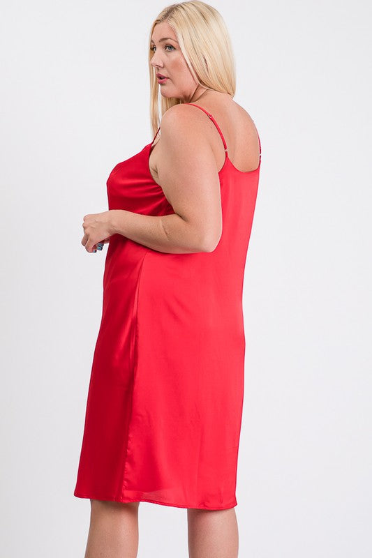 Satin Cowl Neck Tank Dress Red Back