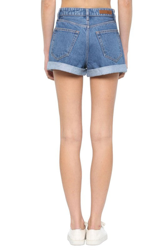 High Rise Mom Double Rolled Hem Short