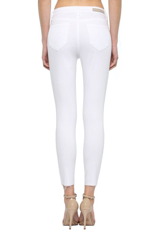 Mid Rise Crop Skinny Straight Cut Hem