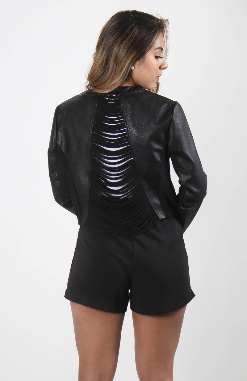 Faux Leather Razor Back Cutout Blazer