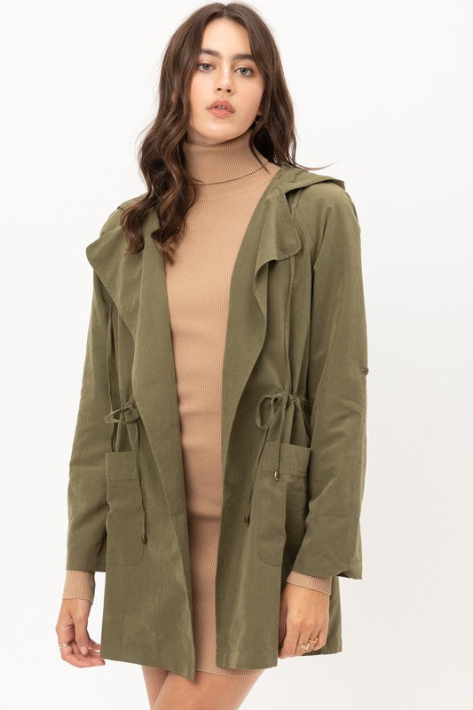 Long Trench Hooded Coat