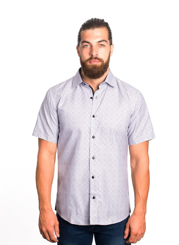 Circle Tile Pattern Short Sleeve Button Up