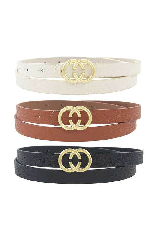 Double C Buckle 3pc Belt