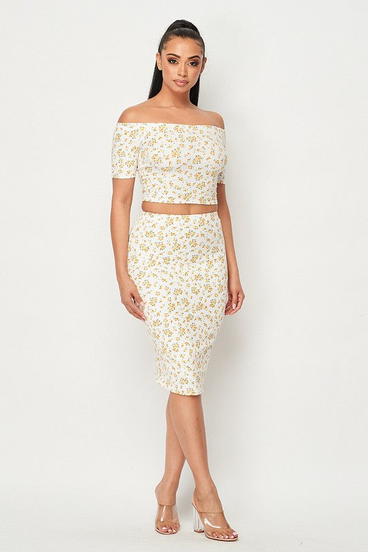 Floral Rib Knit Crop and Pencil Skirt Set