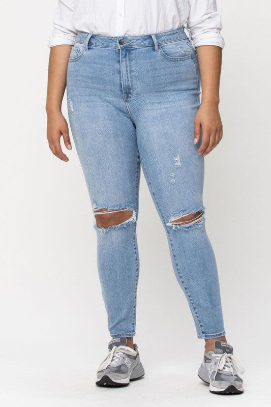 High Rise Knee Hole Ankle Skinny