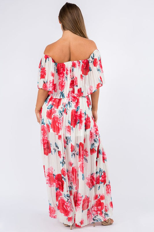 Floral All-Over Pleated Maxi Dress