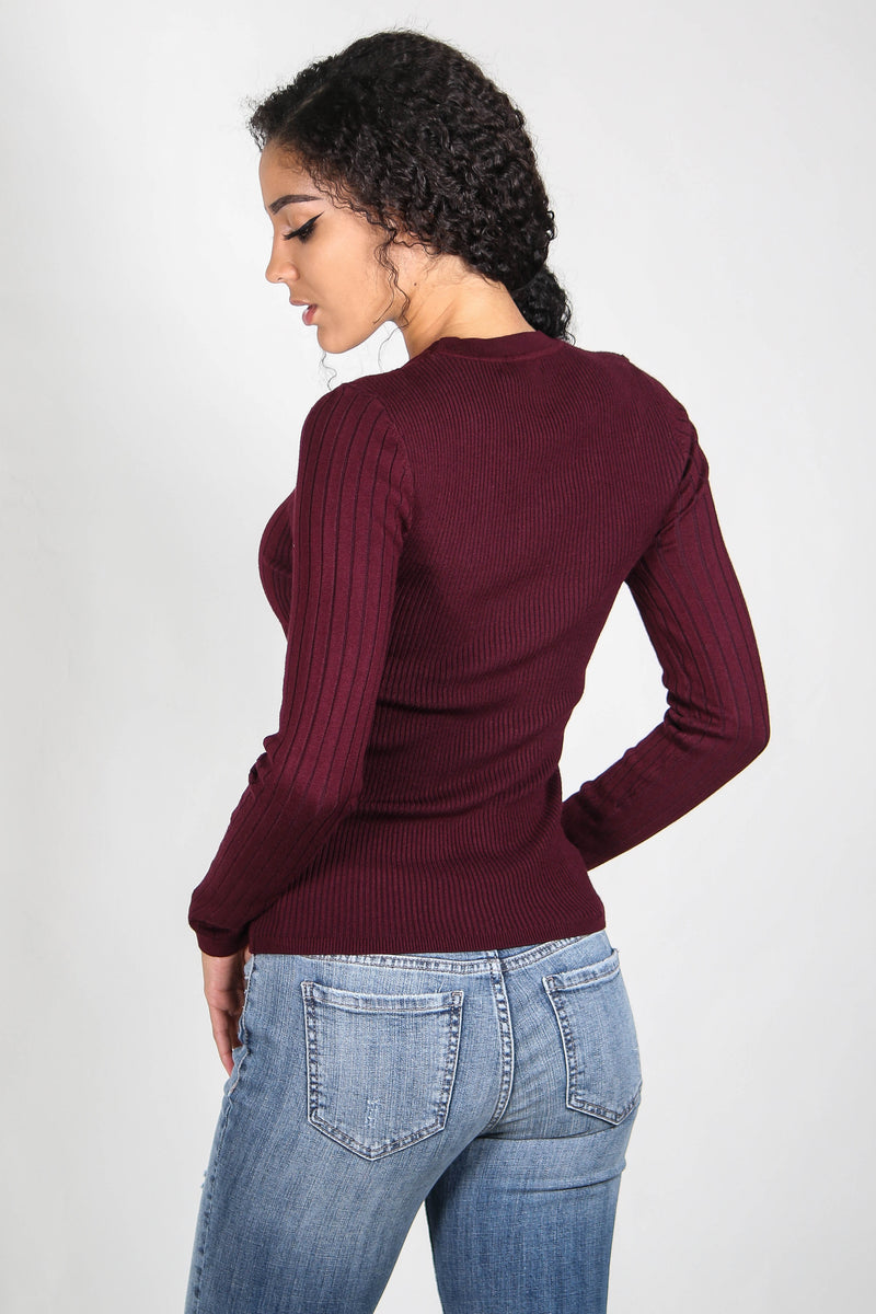 Ribbed Fitted Long Sleeve Top