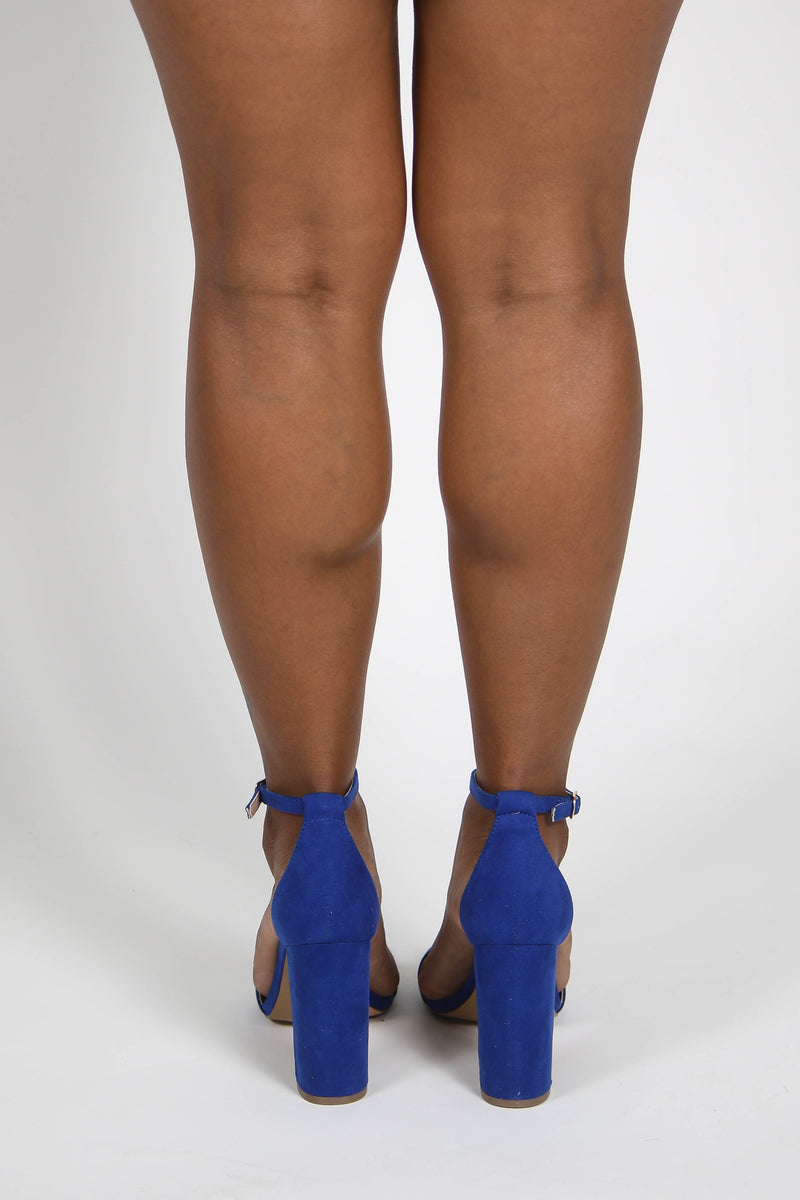 Arianna Open Toe Ankle Strap Chunky Heel Royal Blue