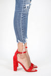 Arianna Open Toe Ankle Strap Chunky Heel Red